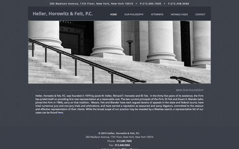 Screenshot of Home Page hhandf.com - Heller, Horowitz & Feit, P.C. | Attorneys | NYC - captured Oct. 1, 2014