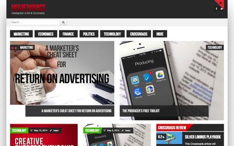 Screenshot of Home Page movienomics.com - MovieNomics | Intersection of Art & Commerce - captured Oct. 7, 2014