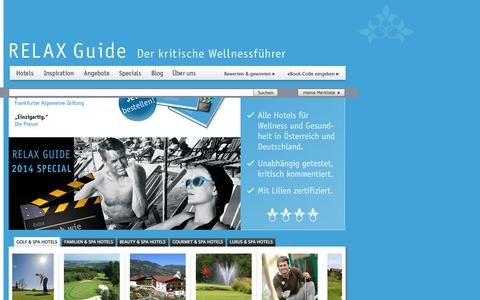 Screenshot of Home Page relax-guide.com - Wellnesshotel   RELAX Guide Hotelbewertung - captured Sept. 19, 2014