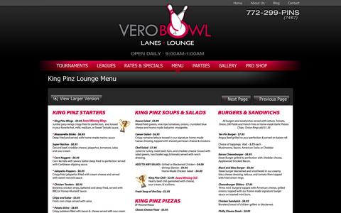 Screenshot of Menu Page verobowl.com - Menu | Vero Bowl Lanes & Lounge - captured Oct. 1, 2014
