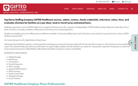 Screenshot of Services Page giftedhealthcare.com - Supplemental Staffing Services | Healthcare Staffing Agency - captured July 19, 2018