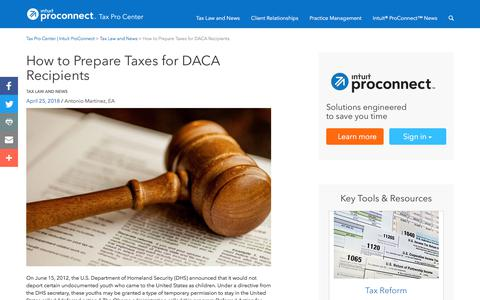 Screenshot of Press Page intuit.com - How to Prepare Taxes for DACA Recipients | Tax Pro Center | Intuit ProConnect - captured Nov. 21, 2019