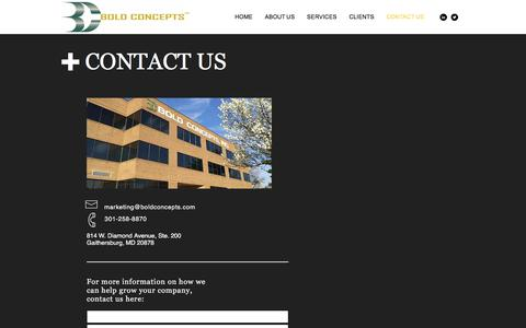 Screenshot of Contact Page boldconcepts.com - Boldconcepts | CONTACT US - captured Oct. 10, 2017