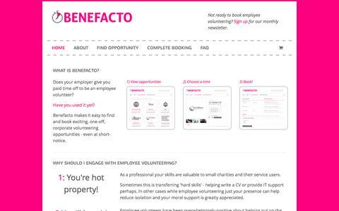 Screenshot of Signup Page benefacto.org - Employee volunteering opportunities | Benefacto - captured Sept. 30, 2014
