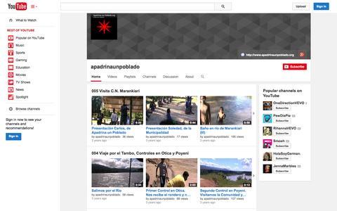 Screenshot of YouTube Page youtube.com - apadrinaunpoblado  - YouTube - captured Oct. 23, 2014