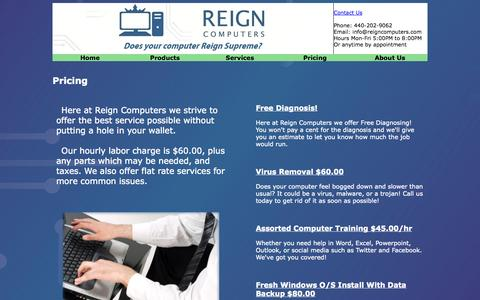 Screenshot of Pricing Page reigncomputers.com - Reign Computers - Pricing - captured Oct. 7, 2014