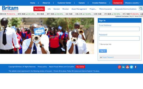 Screenshot of Login Page britam.com - Login - captured May 7, 2017