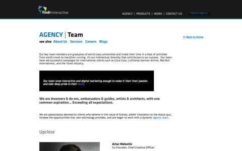 Screenshot of Team Page findrinteractive.com - Team | Findr Interactive - captured Sept. 30, 2014
