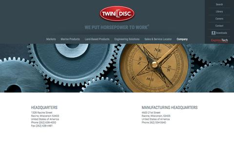 Screenshot of Locations Page twindisc.com - Offices & Locations - About Us | Twin Disc - captured Aug. 16, 2016