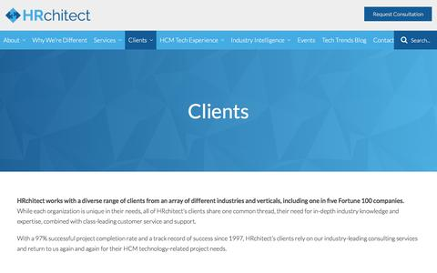 Screenshot of Case Studies Page Testimonials Page hrchitect.com - Who are HRchitect's clients? - captured July 15, 2018