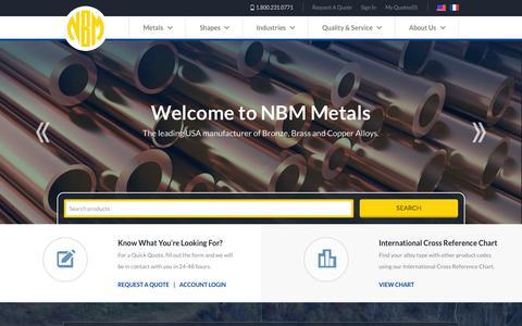 Screenshot of Home Page nbmmetals.com - Copper Alloys - Brass - Bronze | National Bronze & Metals, Inc. - captured Aug. 12, 2015