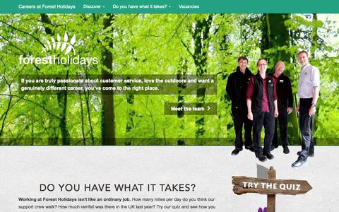Screenshot of Home Page Jobs Page forestholidayscareers.co.uk - Home | Careers at Forest Holidays - captured Oct. 9, 2014