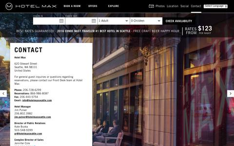 Screenshot of Contact Page hotelmaxseattle.com - Contact Hotel Max - captured Sept. 8, 2017