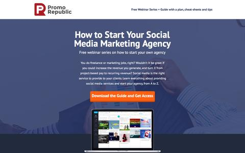 Screenshot of Landing Page promorepublic.com - Webinar - How to Start Your Social Media Agency - captured Oct. 18, 2016