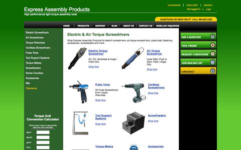Screenshot of Products Page expressassembly.com - Electric Screwdrivers, Torque Screwdrivers, Air Screwdrivers, Pneumatic Screwdrivers - captured Oct. 3, 2014