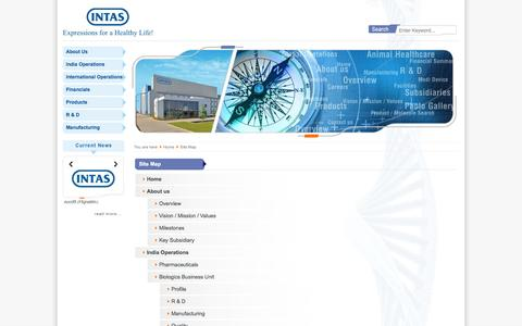 Screenshot of Site Map Page intaspharma.com - Intas Pharmaceuticals Ltd. » Site Map :: Intas - a leading global pharmaceutical formulation development, manufacturing and marketing company - captured Oct. 31, 2014