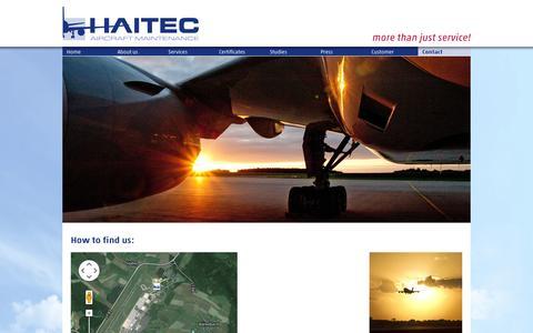 Screenshot of Contact Page haitec.aero - Your way to HAITEC - HAITEC - captured Oct. 1, 2014