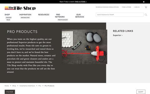 Screenshot of Products Page tileshop.com - Pro Products - The Tile Shop - captured Aug. 26, 2019