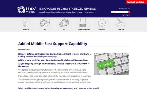 Screenshot of Support Page uavvision.com - Added Middle East Support Capability - captured Feb. 2, 2016