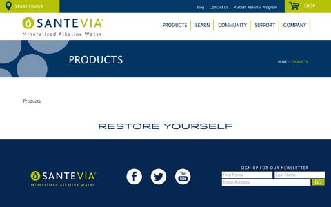 Screenshot of Products Page santevia.com - Products | Santevia - captured Oct. 1, 2014