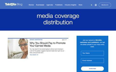 Screenshot of Press Page taboola.com - media coverage distribution Archives - Taboola Blog - captured April 13, 2018