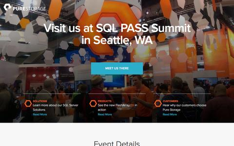 Screenshot of Landing Page purestorage.com - Pure Storage | SQL PASS Summit 2015 - captured March 15, 2016