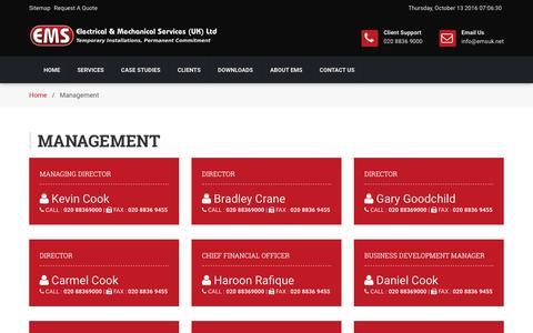 Screenshot of Team Page emsuk.net - Management - EMS UK Ltd - captured Oct. 13, 2016