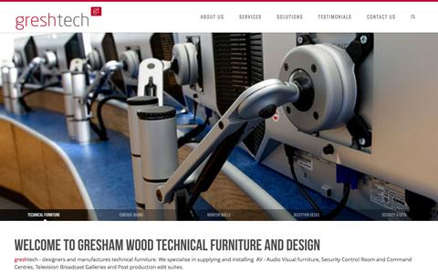 Screenshot of Home Page greshamwood.com - Gresham Wood | Technical Furniture and Control Rooms - captured Oct. 3, 2014