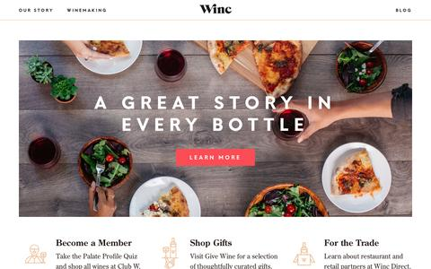 Screenshot of Home Page winc.com - Winc: Direct from the vineyard to your doorstep - captured June 18, 2016