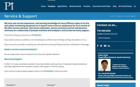 Screenshot of Support Page processinstruments.net - Service & Support - Process Instruments (Pi) - captured Nov. 14, 2019
