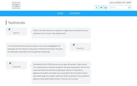 Screenshot of Testimonials Page pc-ariz.com - Testimonials   PCAZ Inc - captured Oct. 1, 2014
