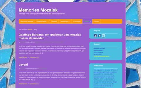 Screenshot of Blog memoriesmozaiek.nl - Blog / Memories Mozaiek - captured Oct. 27, 2014