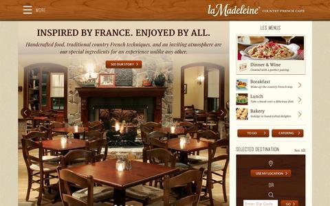 Screenshot of Home Page lamadeleine.com - Country French Café - La Madeleine - captured Jan. 15, 2015