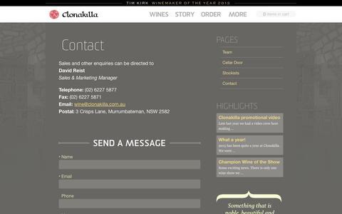 Screenshot of Contact Page clonakilla.com.au - Contact | Clonakilla - captured April 19, 2016