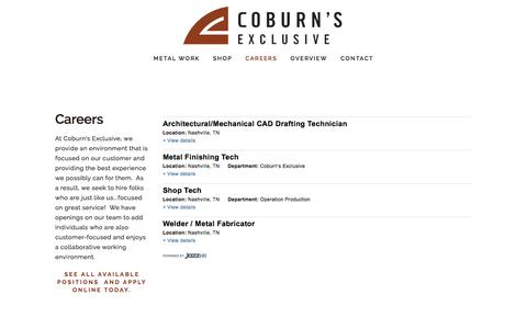 Screenshot of Jobs Page coburnsexclusive.com - Careers — Coburn's Exclusive - captured July 19, 2018
