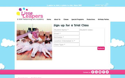 Screenshot of Trial Page thelittleleapers.com - little-leapers-NEW | --- Free Trial - captured Sept. 29, 2018