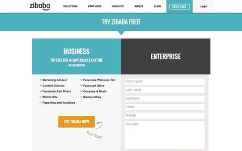 Screenshot of Trial Page zibaba.com - Zibaba - captured Oct. 31, 2014