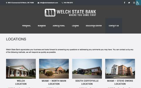 Screenshot of Locations Page welchstatebank.com - Locations – Welch State Bank - captured Sept. 20, 2018