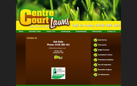 Screenshot of Contact Page centrecourtlawns.com - Synthetic Grass, Instant Turf, Greenkeepers, Landscapers & Gardeners, Centre Court Lawns, Melbourne - captured Sept. 29, 2014