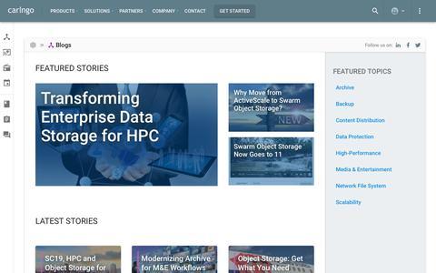 Screenshot of Blog caringo.com - All Stories – Blogs – Caringo - captured Nov. 7, 2019