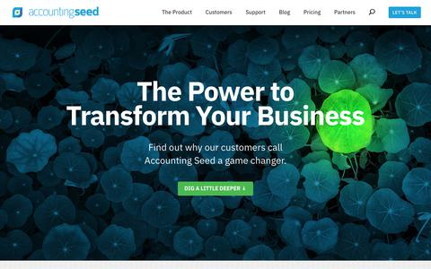 Screenshot of Home Page accountingseed.com - The Power to Transform Your Business | Accounting Seed - captured April 10, 2019