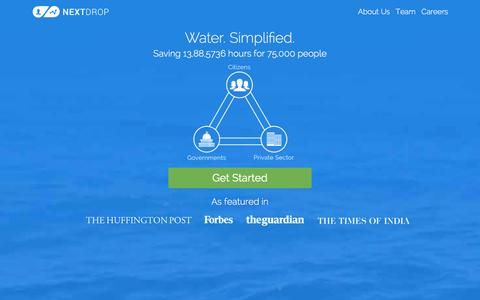 Screenshot of Home Page nextdrop.co - Nextdrop | Water. Simplified. - captured Jan. 11, 2016