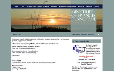 Screenshot of Contact Page frangipane.org - Contact Ministries of Francis Frangipane - captured Oct. 4, 2014