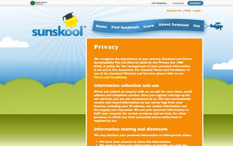 Screenshot of Privacy Page sunskool.com - Sunskool - National Solar in Schools (NSSP) - Privacy - captured Oct. 7, 2014