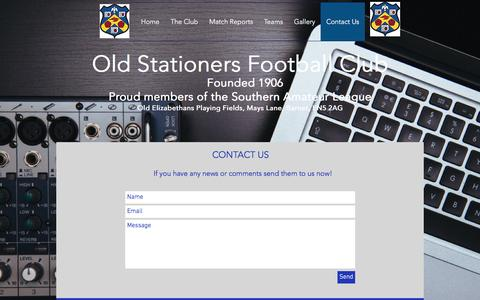 Screenshot of Contact Page oldstationersfc.co.uk - Contact Us - captured April 6, 2017