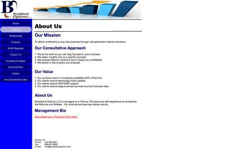 Screenshot of About Page broadbandoptions.com - About Us - captured Oct. 5, 2014