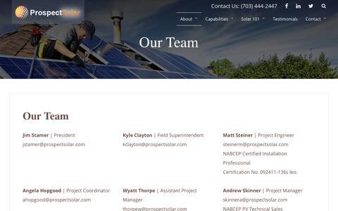 Screenshot of Team Page prospectsolar.com - Our Team   Prospect Solar - captured July 22, 2018