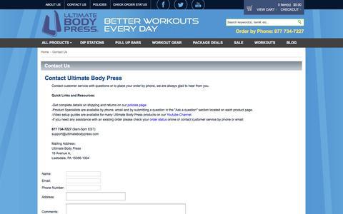 Screenshot of Contact Page ultimatebodypress.com - Contact Us - captured Sept. 21, 2018