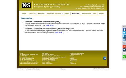 Screenshot of Case Studies Page consultks.com - Case Studies   Knickerbocker & Stevens   Management Psychology Consultants - captured Feb. 12, 2016