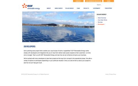 Screenshot of Developers Page edf-re.com - EDF Renewable Energy - Solar & Wind Power Producer - EDF Renewable Energy - captured March 29, 2016